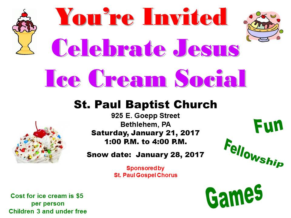 ice cream social click for flyer st paul baptist church. Black Bedroom Furniture Sets. Home Design Ideas
